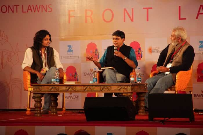 Adil Hasan (on the right) finished his photographic studies in Auckland, New Zealand, and is seen here during a conversation at the 7th Jaipur Literary festival.