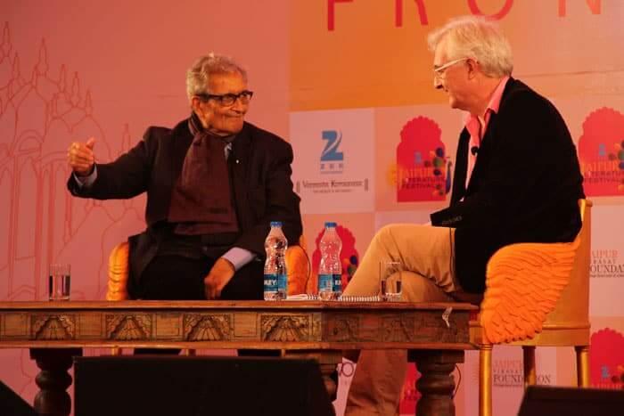Amartya Sen,(left), Indian economist and Nobel laureate attending the 7th Jaipur literature festival.