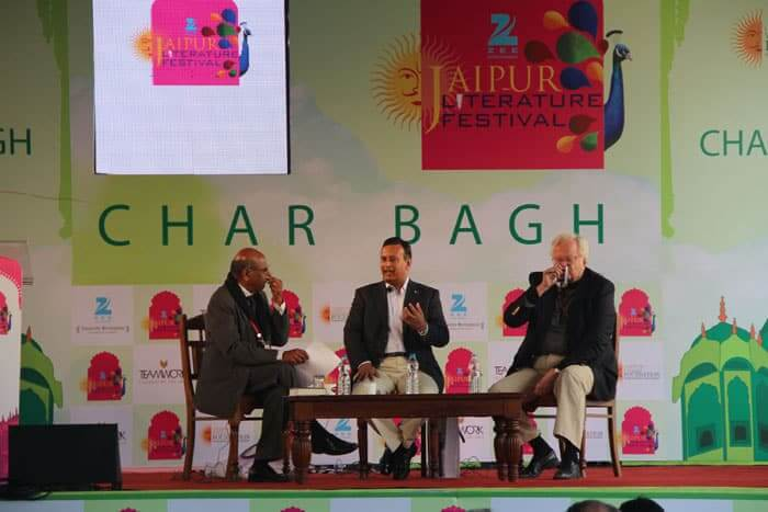 Hussain Haqani (centre) former Pakistan ambassador to the United States, at the 7th Jaipur Literary festival.