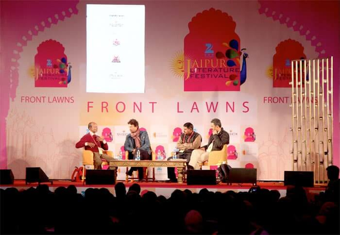 Indian Bollywood star Irrfan Khan (Second right), in converstation with Neerav Patel, Hariram Meena on the first day of Jaipur Literature Festival.