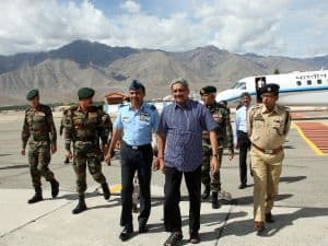 Union Minister for Defence arrives at Leh Technical Airport