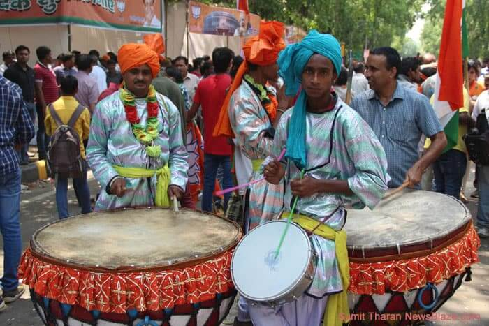 colourful bjp drummers