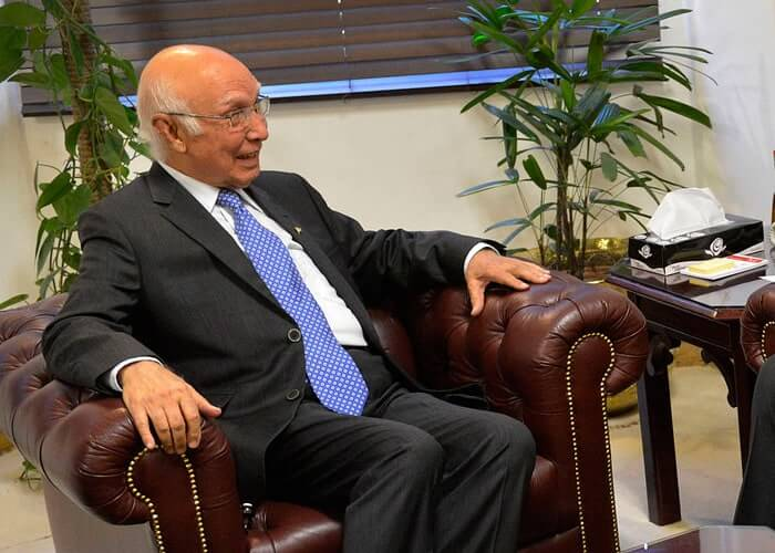 Sartaj Aziz, to discuss kashmir.