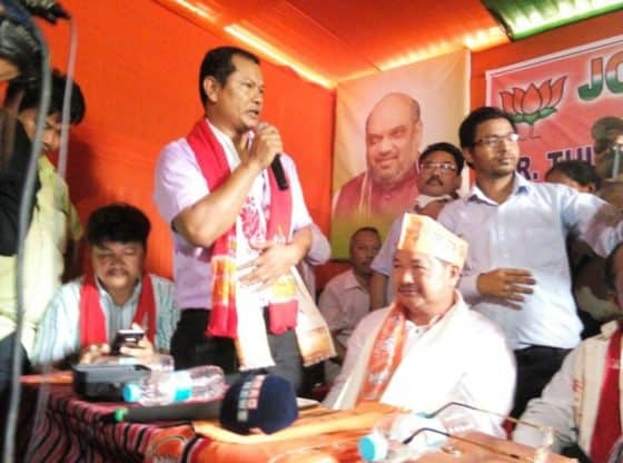 Tuliram Ronghang joins BJP in Diphu.
