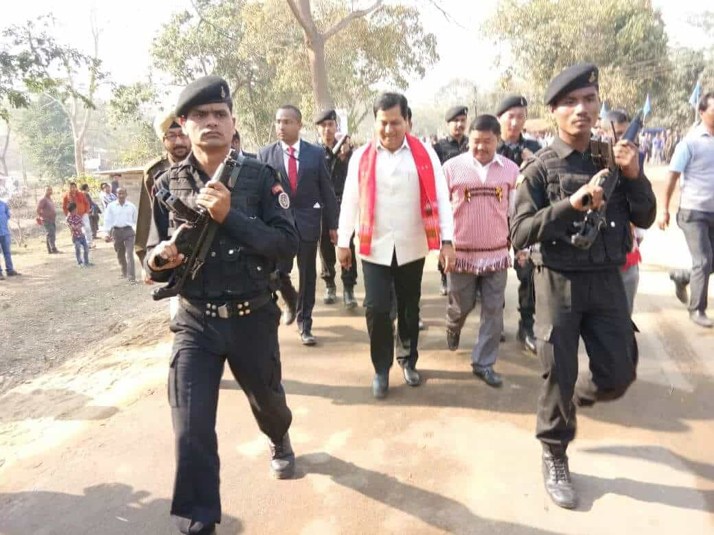 chief minister dignitaries and bodyguards.