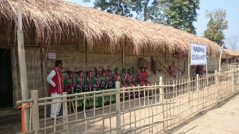 rabha community display and dancers.