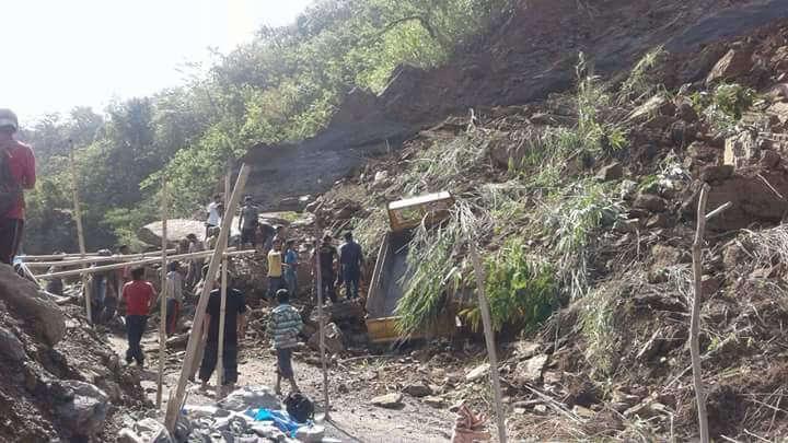 mizoram - rescuers at stone quarry