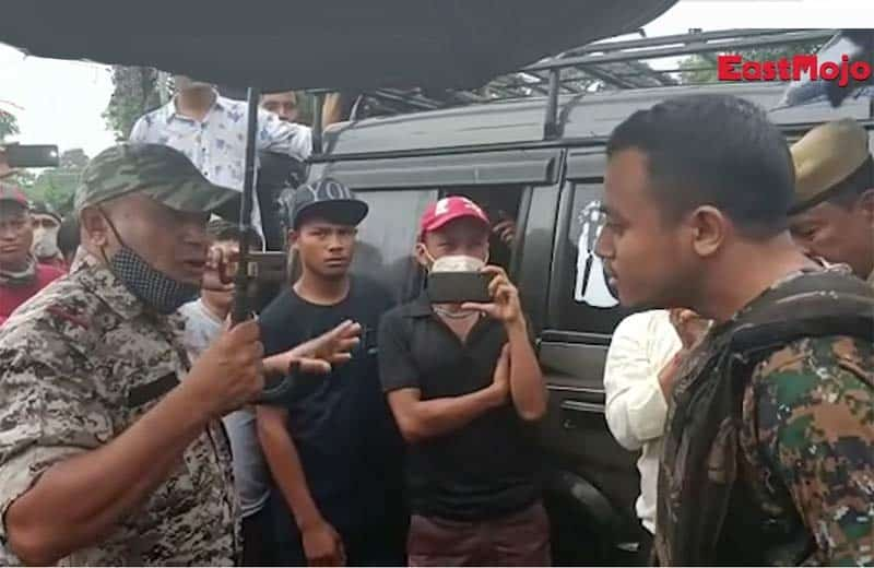 heated discussion with assam police. image: screenshot from youtube video by east mojo