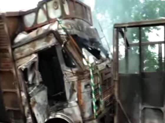 Two of five torched haulage trucks
